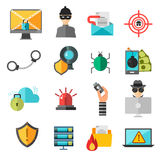 Computer internet safety vector icons Royalty Free Stock Photos