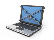 Computer / internet security 3d concept. Chains padlock and notebook over white background Royalty Free Stock Photo
