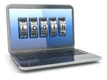 Computer or internet security concept. Laptop with code login. Stock Photo