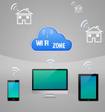 Computer-Internet-Wolken-Technologie Wi-Fi Stockfotos