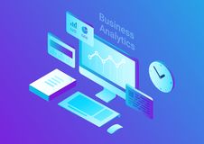 Computer Isometric Flat vector. Business Finance A. Computer Monitor Keyboard Mouse  Stack of Papers Clock Isometric Flat vector illustration. Business Finance Royalty Free Stock Photos