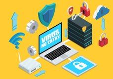 Computer isometrico con le componenti di sicurezza di Internet Fotografie Stock Libere da Diritti