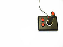 Computer Joystick. Retro black and red computer game controller stock image