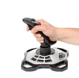 Computer joystick with hand isolated on white Royalty Free Stock Image
