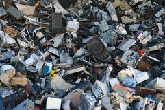 Computer and junk. A mix of computer parts and junk for metal and plastic recycling Royalty Free Stock Photography