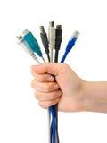Computer kabelt in der Hand stockfotografie