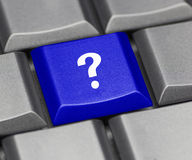Computer key blue - question mark Royalty Free Stock Photo