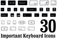 Computer key board keys and buttons of mac and windows in Vector. 30 important Computer key board keys and buttons of mac and windows in Vector Royalty Free Stock Photos