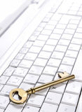 Computer with Key Royalty Free Stock Photos