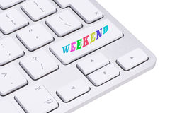 Computer key - days of the week - Weekend. Keyboard isolated on white background royalty free stock photos