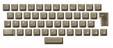 Computer key in a keyboard. With letter, number and symbols Royalty Free Stock Image