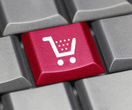 Computer key red - shopping cart Stock Photos