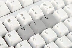 Computer keyboad winning concept. Personal computer keyboad business winning concept closeup stock photography