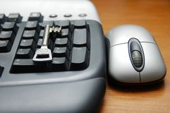 Computer keyboar and mouse Stock Photos
