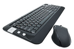 Computer keyboard. A multifunctional computer keyboard and mouse on white background Stock Images