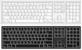 Computer Keyboard. Illustration of a computer keyboard with option of black or white Royalty Free Stock Image