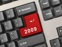 Computer keyboard with 2009 key Royalty Free Stock Images