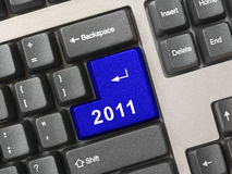 Computer keyboard with 2011 key Stock Images