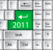 Computer Keyboard with 2011 Key. Holiday concept Stock Image