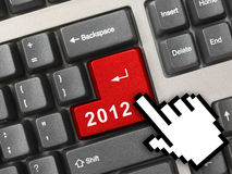 Computer keyboard with 2012 key and cursor. Holiday concept Stock Image