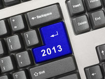 Computer keyboard with 2013 key Royalty Free Stock Photography