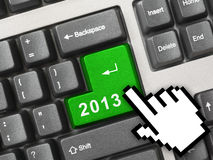 Computer keyboard with 2013 key Royalty Free Stock Photos
