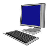 Computer with keyboard. Illustration of a computer monitor with keyboard royalty free illustration