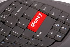 Computer keyboard. With red button - Money text Stock Photography