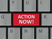 Computer keyboard action now. Action now computer key - demand of urgent act (three-dimensional rendering Royalty Free Stock Photos