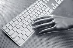 Computer keyboard aluminum silver hand Royalty Free Stock Images