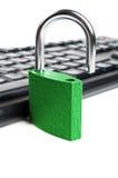 Computer Keyboard And Green Lock Stock Photo
