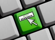 Computer Keyboard: Apply now german. Computer Keyboard with Mouse arrow showing Apply now in german language royalty free stock image