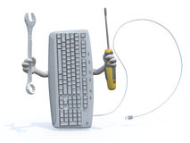 Computer keyboard with arms and tools on hand Stock Image