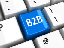 Computer keyboard B2B. B2B (business to business) key on the computer keyboard, three-dimensional rendering Stock Photo