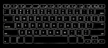 Computer keyboard with backlight. Computer keyboard with illuminated backlight Stock Photos