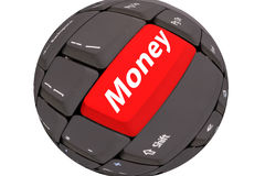 Computer keyboard ball. With red button - Money Royalty Free Stock Images
