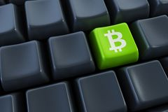 Computer keyboard with bitcoin buttons. Computer keyboard with bitcoin button, 3d rendering Stock Photography