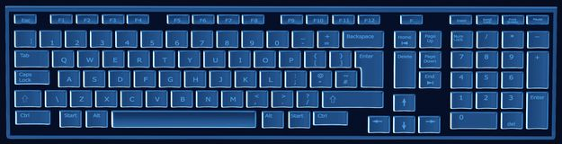 Computer keyboard in black and blue Royalty Free Stock Photography