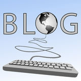Computer keyboard blogs Earth Blogosphere. A blogging computer keyboard blogs to the Western Blogosphere of Earth on a blue sky background Royalty Free Stock Photo