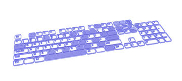 Computer Keyboard, Blue. Computer Keyboard element abstract, 3d, over white Stock Images