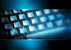 Computer keyboard in blue Royalty Free Stock Images