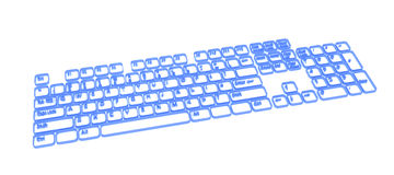 Computer Keyboard, Blue Contour. Computer Keyboard element abstract, 3d, over white Stock Image