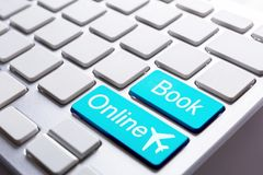 Book online computer button. Computer keyboard with book online button Stock Photo