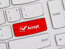 Computer keyboard button with accept text Royalty Free Stock Image