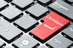 Computer keyboard button. Computer keyboard with christmas button Stock Images