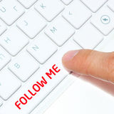 Computer keyboard with button follow me Royalty Free Stock Photography