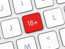 18+ Computer Keyboard Button. 18+ Computer Keyboard Red Button vector illustration