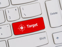 Computer keyboard button with target text Royalty Free Stock Photos