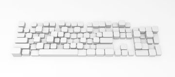 Computer Keyboard, Buttons. Computer Keyboard element abstract, 3d, over white Royalty Free Stock Photography