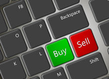 Computer keyboard with buy and sell buttons Royalty Free Stock Photography